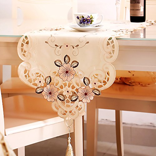 Price comparison product image ELISE Table Runners, Embroidered Polyester Table Linens for Country Outdoor Weeding Party Table Decoration by 15 x 70 Inch