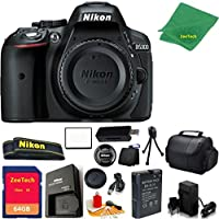 Nikon D5300 DSLR Camera Body Only (Black) + 64 GB Memory Card + Case + Reader + 6PC Starter set + Microfiber Cloth + Extra Charger - International Model