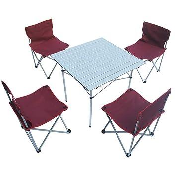 Alf Mesa y Silla de Camping Mesa Plegable portátil con 4 ...