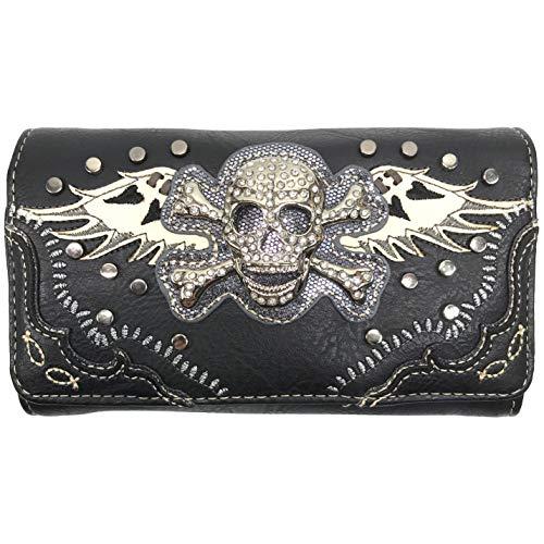 Justin West Rhinestone Skull Embroidery Floral Shoulder Chain Handbag