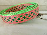 """Schmoopsie Couture St Patrick's Day Hot Pink and Emerald Celtic Knot Dog Leash (1"""" x 60"""")"""