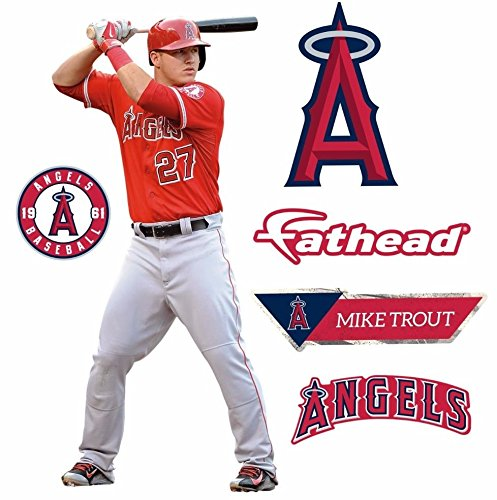 FATHEAD Mike Trout Los Angeles Angels Logo Set Official MLB Vinyl Wall Graphics 17