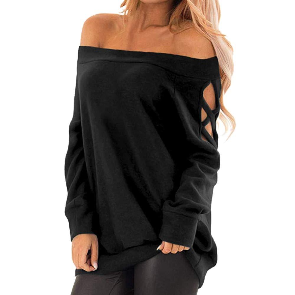 LEvifun Donna Camicia Senza Lunghe Maniche Scollo Tinta Alto Manica Lunga Casual Sciolto Eleganti Autunno Bluse Top Maglietta