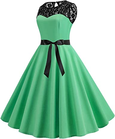 Prom Dresses for Women,Women Vintage 1950s Retro Sleeveless Lace Splice Solid Party Prom Swing Dress