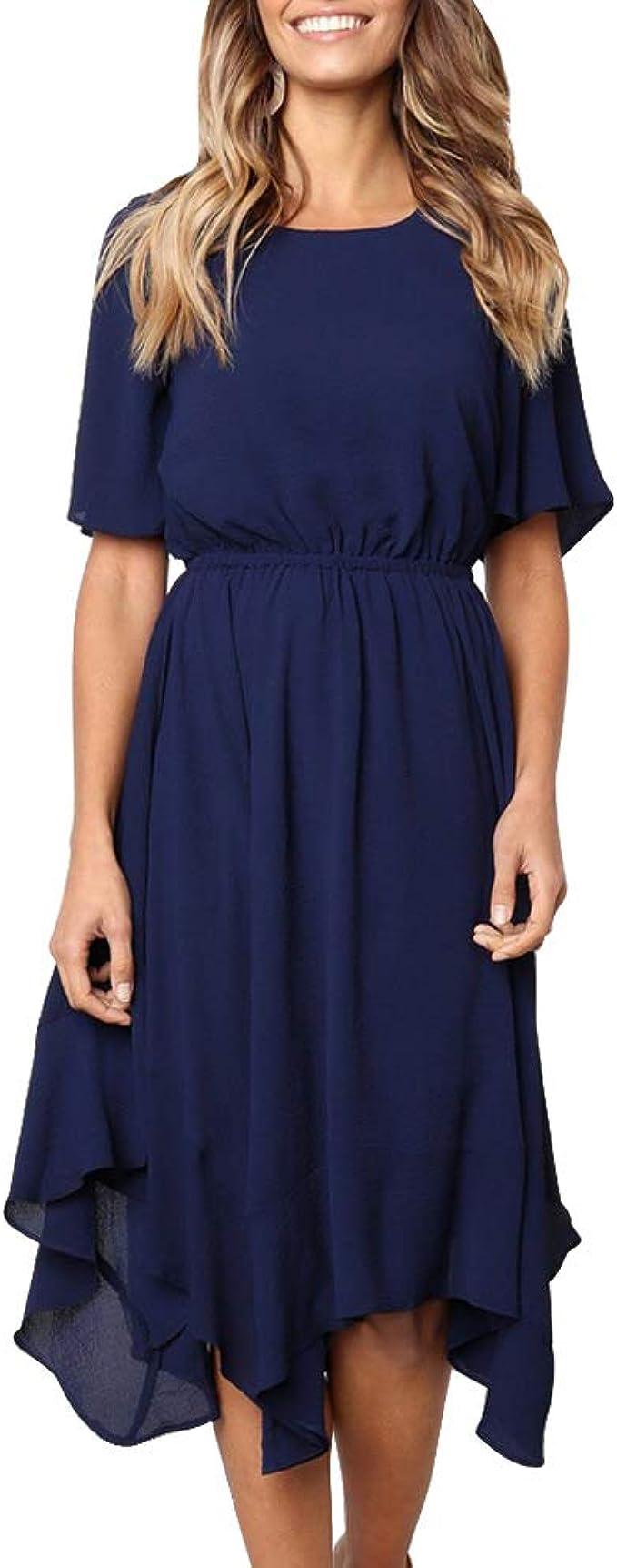 Dehots Damen Kleider A-Linie Sommerkleid Rundhals Kleid Kurz Mini  Strandkleid Sommer für Mädchen Frauen