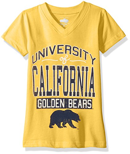(NCAA California Golden Bears Children Girls V-Neck Short Sleeve Tee,14,Bold Gold Blend)