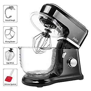Betitay Stand Mixer, 6-Speed 4.5 QT Glass Bowl Visual Baking Mixer, Dough Kneading Machine with Splash Guard, Mixing Beater, Whisk, Dough Hook and Silicone Brush, 500W/1400W Max. (Black/Glass)