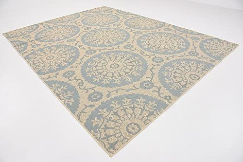 Unique Loom Outdoor Botanical Collection Floral Abstract Transitional Indoor and Outdoor Flatweave Beige /Blue Area Rug 9' 0 x 12' 0