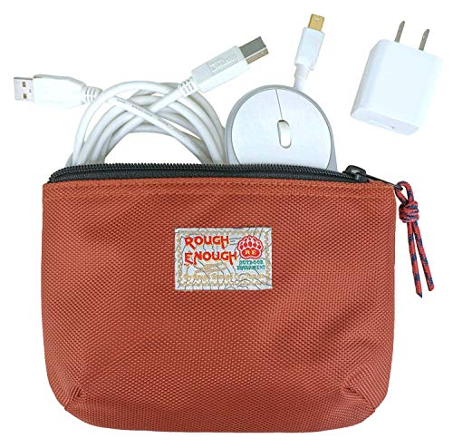 Rough Enough Small Travel Power Bank USB Charger Cable Case Organizer Bag Pouch for Mac Electronics Adapter Magic Mouse Toiletry Storage Shaving Kit with Zipper for Men Women Trip School Boy Girl