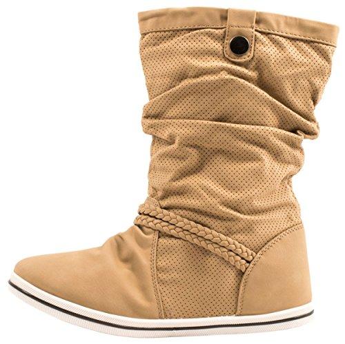Elara Flache Damen Schlupfstiefel Bequeme Stiefel Boots Khaki X