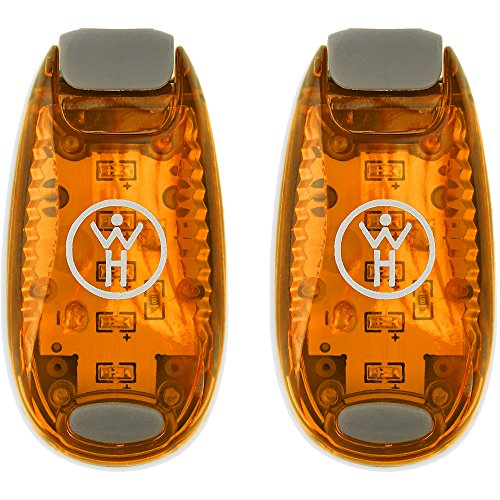 LED Safety Light 2 Pack (Orange) - Nighttime Visibility for Runners, Cyclists, Walkers, Joggers, Kids, Dogs, Relays & More - Clip to Clothes Strap to Wrist, Ankle, Bike, Collar or Just About Anywhere!