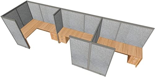 GOF 3 Person Separate Workstation Cubicle 5'D x 19.5'W x 4'H / Office Partition