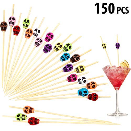 Fruit Appetizers For Halloween (150 Pieces Halloween Skull Bamboo Sticks, Skull Skewers Sticks, Cocktail Picks Handmade Bamboo Toothpicks, Multicolor Appetizer Bar Drinks Food Fruits Cocktail Sticks Party Supplies (Random)