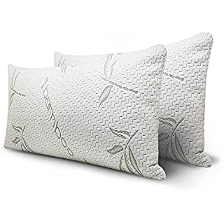Mutlu Home Goods King Size Shredded Memory Foam Adjustable Pillow with Hypoallergenic, Antibacterial and Antimicrobial Removable / Washable Bamboo Rayon Zipper Cover, 2 Pack