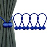 IHClink 4 Pieces Magnetic Curtain Tiebacks Buckle Clips Tie Band Woven Curtain Holdbacks Home Office Decorative Drape (Blue)