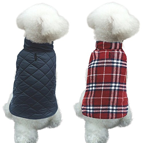 MIGOHI Dog Jackets for Winter Windproof Waterproof Reversible Dog Coat for Cold Weather British Style Plaid Warm Dog Vest for Small Medium Large Dogs RED XS