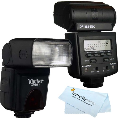 Vivitar DF-383 DEDICATED ETTL LCD Flash with LCD Display Includes Flash Diffuser For Nikon DSLR Cameras Cleaning Kit MicroFiber Cleaning Cloth by Vivitar