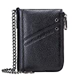 Contacts RFID Mens Genuine Leather Double Zipper Pocket Bifold Coin Wallet with Anti-Theft Chain (Black)