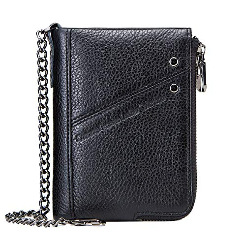 Contacts RFID Mens Genuine Leather Double Zipper Pocket Bifold Coin Wallet with Anti-Theft Chain - Wallet Chain Mens