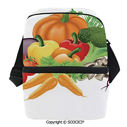 (SCOCICI Cooler Bag Cartoon Drawing Style Fall Harvest Yield Fresh and Tasty Vegetables Bell Peppers Decorative Insulated Lunch Bag for Men Women for Kayak,Beach,Travel,Work,Picnic,Grocery)