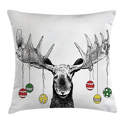 Moose Decor Throw Pillow Cushion Cover by Ambesonne, Christmas Moose with Xmas Ornaments Balls Hanging from Horns Funny Noel Sketch Art , Decorative Square Accent Pillow Case, 18 X18 Inches, Multi
