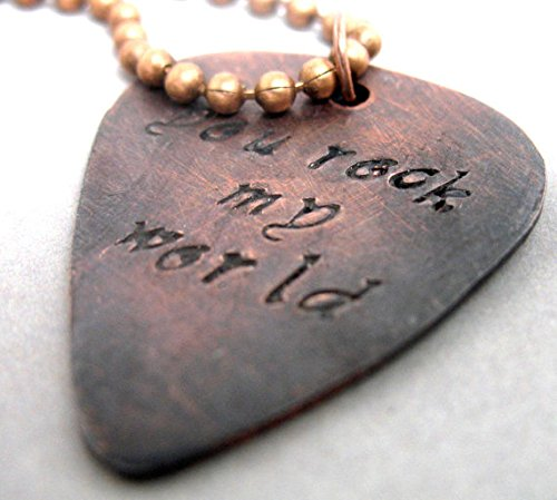 (You Rock My World - Hand Stamped Antiqued Copper Guitar Pick Pendant - Valentine's Gift)