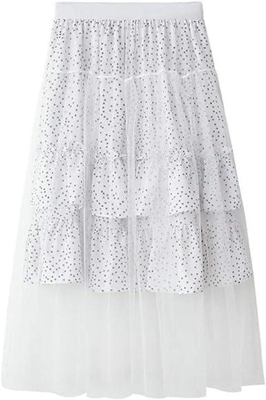 Proumy Falda de Gasa a Lunares Verano Mujer Vestido Plisado ...