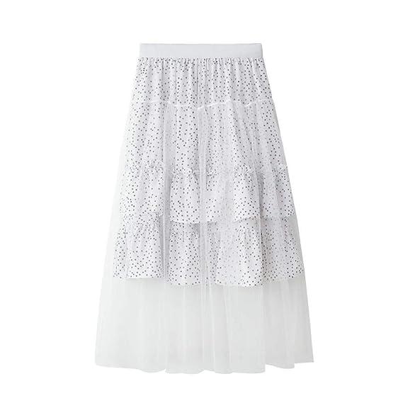 Crylee - Falda Larga Estilo Bohemio para Mujer Blanco Blanco Talla ...