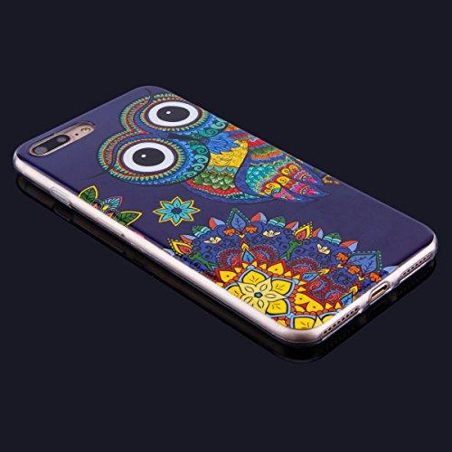 Funda iPhone 7 Plus,iPhone 7 Plus Carcase Transparente,Etsue Ultra Delgado Carcasa TPU para iPhone 7 Plus,iPhone 8 Plus Caso Gel Cristal Claro Silicona Cover con Creativa Gráfico Perro Mandala de flor Búho Azul