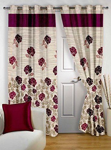 Story@Home Berry Premium Fancy Jacquard 1 Piece Door Floral Eyelet Curtain, 7 feet, Maroon