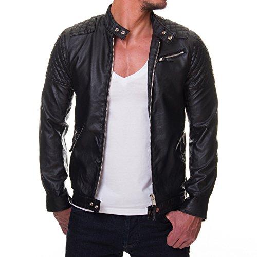 Prestige Homme Herren Jacke Kunst Leder Biker Gesteppt MR08, Größe:L