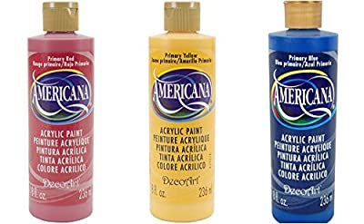Americana Primary Color Set- 8 ounce- Red, Yellow and Blue Acrylic Paints
