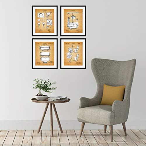Vintage Bathroom Patent Unframed Art Prints: Set of Four Photos (8x10) – Fun Bathroom Decor Gift Idea