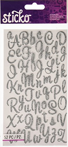 (Sticko Sweetheart Silver Script Alphabet Sticker)