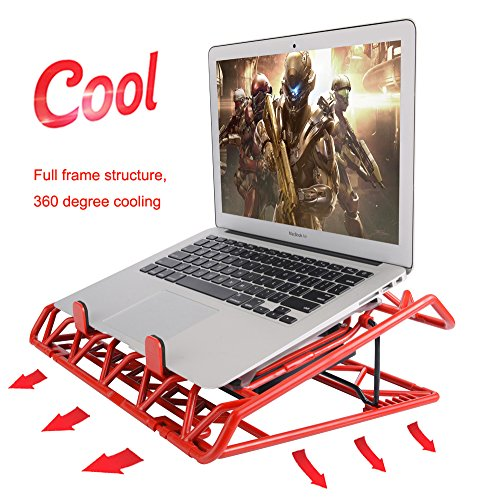 Laptop Cooling Stand - Portable USB Powered 12-15.6 inch Laptop Cooler Pad with 2 Ultra Quiet Fans and Blue LED Lights (Red) by Mebber (Image #1)