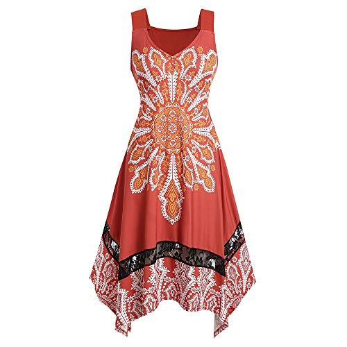 KCatsy Plus Size Knee Length Printed Dress]()