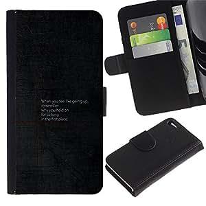 EJOY---Tirón de la caja Cartera de cuero con ranuras para tarjetas / Apple Iphone 4 / 4S / --Consejos motivacionales