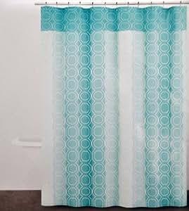 Dkny carbono algod n tela cortina de ducha patr n for Cortina verde agua