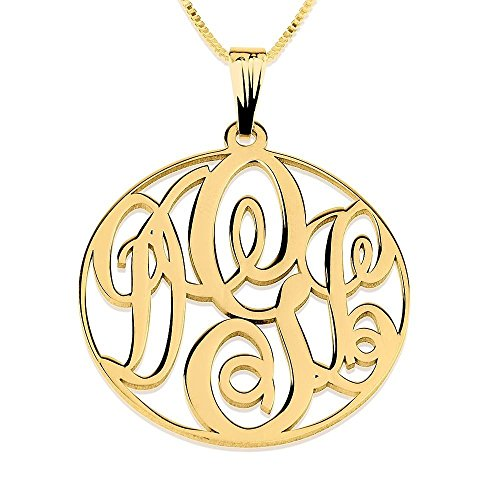 Circle Monogram Necklace - Personalized Initial Monogram Pendant in Gold Plated
