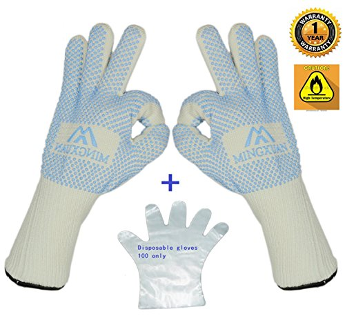 bbq Kitchen Oven Gloves(give gift 100 Disposable PE mitten)Thicker Extreme Heat Resistant White gloves Used for BBQ Outdoor picnic Home get together Oven Microwave Curls work welding