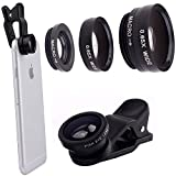 3 in 1 180° Universal Clip-On 180 Degree Supreme Fisheye + 0.65X Wide Angle + 10X Macro Lens For iPhone 6 / 6 Plus, iPhone 5 5S 4 4S Samsung HTC (No Dark Circle by the Fisheye lens) (Black)