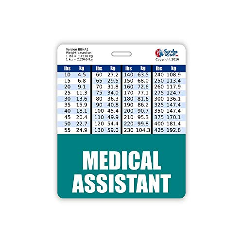 Medical Assistant Badge Buddy Horizontal w/Height & Weight Conversion Charts (Oversized, Teal)