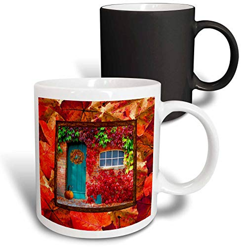 3dRose Beverly Turner Autumn Design - Aqua Door, Pumpkin, Watering Can, Window with Leaves, Autumn Colors - 11oz Magic Transforming Mug (mug_290396_3)
