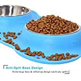 UPSKY Dog Cat Bowls Stainless Steel Double Dog Food and Water Bowls with No-Spill No-Skid Silicone Mat, Pet Feeder Bowls Small Puppy Bowl for Small Dogs Cats