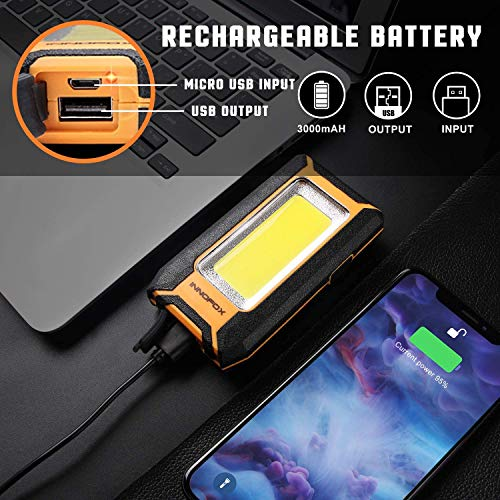 2pack LED Rechargeable Magnetic Work Light 40W 1500Lumens, Hanging Hook 3 Lighting Modes, Job Site Lighting for Car Repairing, Camping, Hunting, and Hurricane