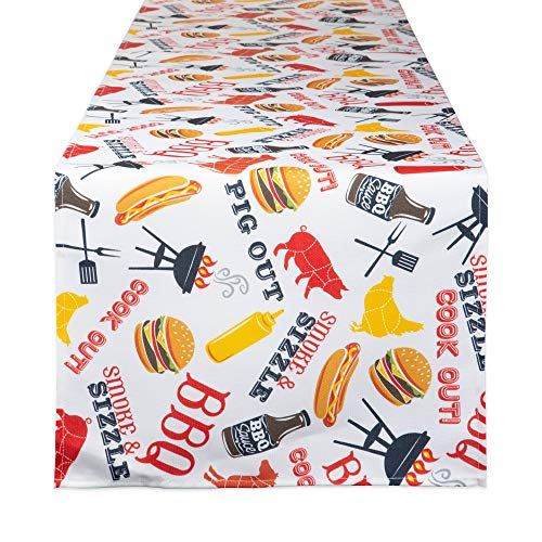 DII CAMZ11167 100% Polyester Table Runner, Spilll Proof and Waterproof for Outdoor or Indoor Use, Machine Washable, 14x72, Barbeque