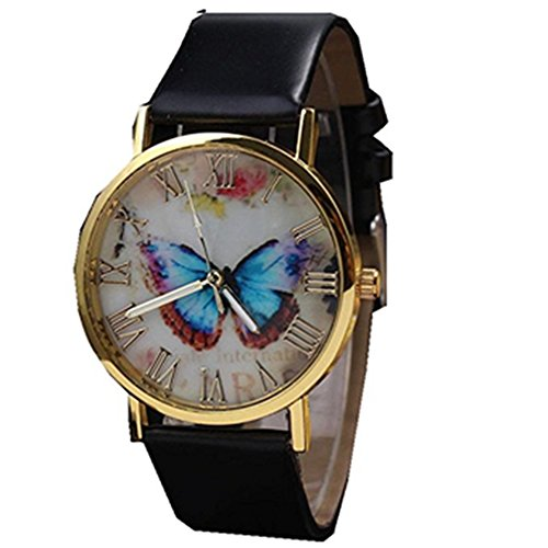 Womens Butterfly Style Leather Band Analog Quartz Wrist Watch Black - 2