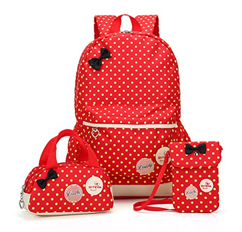 GJ Conjunto de 3 Bolsas Mochila Escolar Bolsa de Mano Bolsa Pequeña para Niña Estudiante de Primaria Secundaria Rojo