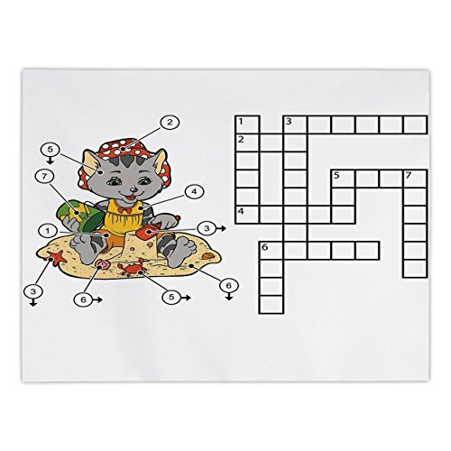 Polyester Rectangular Tablecloth,Word Search Puzzle,Crossword Game for Children Cute Cat on Beach and Building Sand Castles Decorative,Multicolor,Dining Room Kitchen Picnic Table Cloth Cover,for Outdo