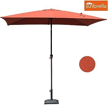 Sundale Outdoor 6.5 X 10 Ft Sunbrella Canopy Rectangular Umbrella Patio  Garden Outdoor Aluminum Market Umbrella